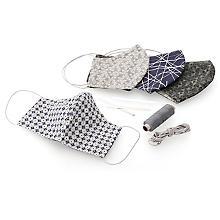 Näh-Set 'Stoff-Masken' für 4 Wendemasken, grau-color