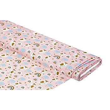 Bio-Baumwollstoff 'Eule & Regenbogen', rosa-color