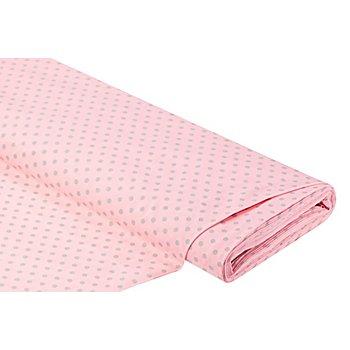 Baumwollstoff Tupfen 'Mona', rosa/grau, 5 mm Ø