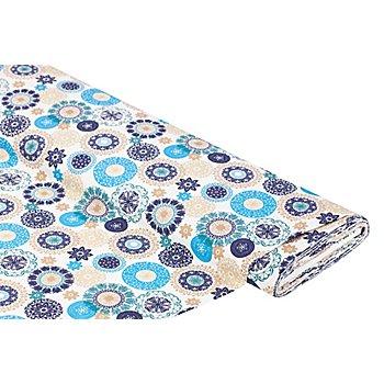 Tissu en coton 'mandala', tons bleus