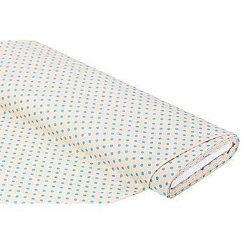 Tissu coton à pois, nature/turquoise