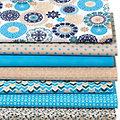 """Lot de 7 coupons de tissus patchwork """"mandala"""", tons bleus"""