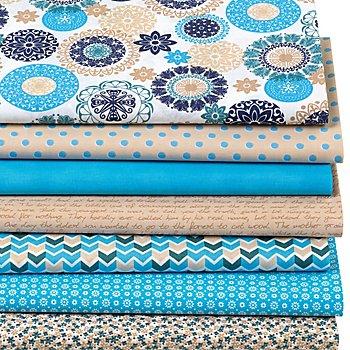 Lot de 7 coupons de tissus patchwork 'mandala', tons bleus