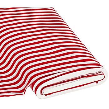 Baumwollstoff 'Streifen' rot/weiss