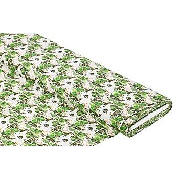 Tissu en coton bio 'Jurassic Park', vert/blanc