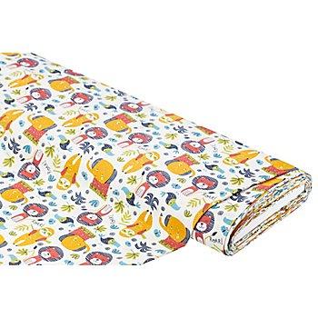Tissu coton 'jungle', nature/multicolore
