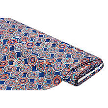 Tissu coton 'cercles', bleu/multicolore
