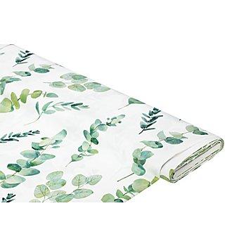 Deko-Satin 'Eukalyptus- und Oliven-Blätter', offwhite/grün
