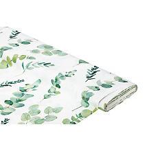 Tissu satin déco 'branches d'eucalyptus et d'olivier', blanc délavé/vert