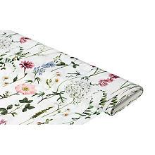 Tissu satin déco 'fleurs des champs', blanc délavé/multicolore