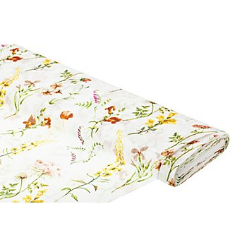 Tissu voile avec structure de lin 'fleurs', blanc/multicolore