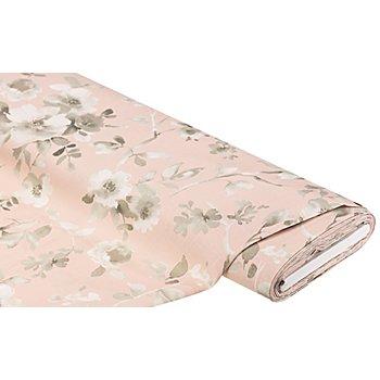 Dekostoff 'Blumen' in Leinenoptik, rosa-color