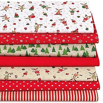 Lot de 7 coupons de tissu patchwork 'drôles de rennes', rouge/multicolore