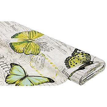 Dekostoff Schrift/Schmetterling 'Lorena', natur-color