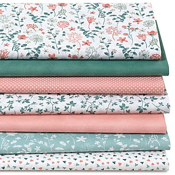 Patchwork- und Quiltpaket 'Wiesenblumen', jade/rosa/mint