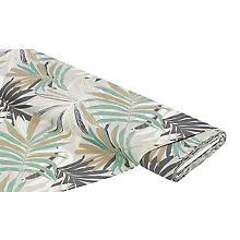 Tissu de décoration 'feuilles', gis/marron, de la série Lorena