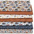 """Lot de 7 coupons de tissu patchwork """"rétro"""", marron/bleu"""