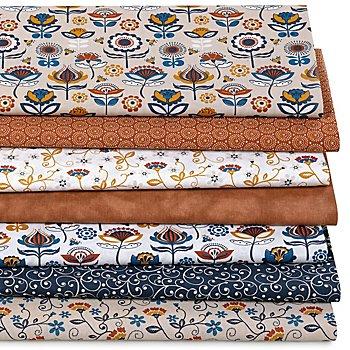 Lot de 7 coupons de tissu patchwork 'rétro', marron/bleu