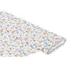 Tissu coton 'ours/hiboux', blanc/multicolore