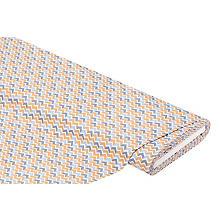 Tissu coton 'zigzag', marron/bleu
