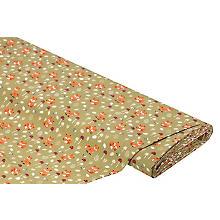 Tissu coton 'renards', kaki/multicolore