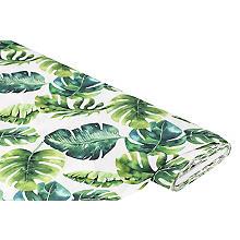 Baumwollstoff-Digitaldruck 'Monstera', Serie Ria, weiß-color