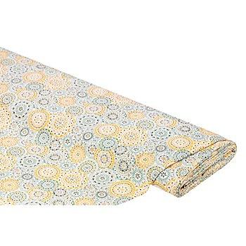 Baumwollstoff 'Mandala', gelb/grün