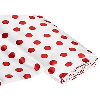 Satin Tupfen, weiß/rot