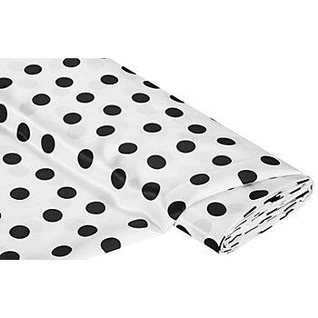 Tissu satin 'pois', blanc/noir