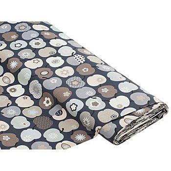 Tissu coton 'Pommes rétro', taupe/gris
