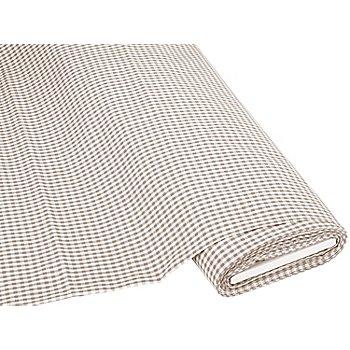 Tissu coton 'carreaux vichy', 5 x 5 mm, taupe/blanc
