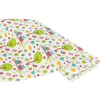 Tissu coton 'hiboux rétro', écru/multicolore