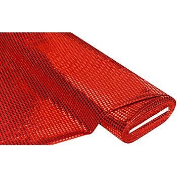 Paillettenstoff 'Gloss', rot, 6 mm Ø, 135 cm breit