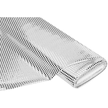 Tissu à paillettes scintillantes, argent, 6 mm Ø, 135 cm de large