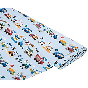 Tissu coton 'véhicules', bleu clair/multicolore