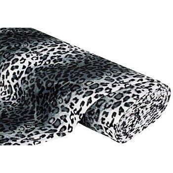 Tissu imitation fourrure 'léopard', gris