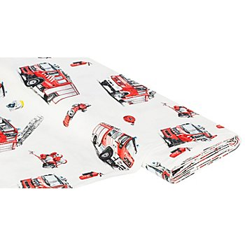 Tissu coton 'pompiers', écru/multicolore