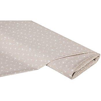 Tissu coton 'aigrette de pissenlit', taupe/blanc