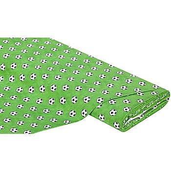 Baumwollstoff Fußball Design, grüngrundig