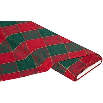 Tissu jacquard 'carreaux Noël' avec fil scintillant, vert/bordeaux
