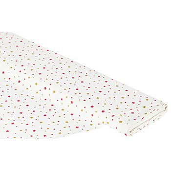 Tissu coton 'étoiles', écru/multicolore