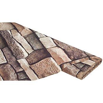 Baumwollstoff-Digitaldruck 'Steinmauer Ria', braun-color