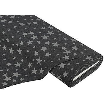 Sweatstoff 'Stars', anthrazit/grau