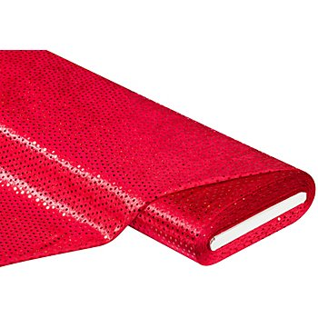 Pannesamt mit Pailletten, rot