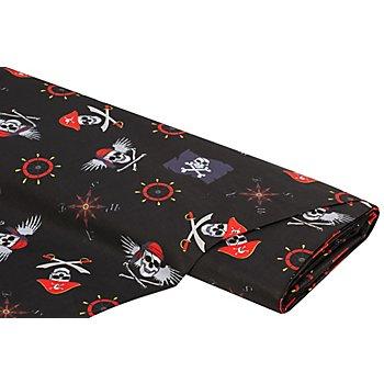 Tissu coton 'pirates & Cie.', noir/multicolore