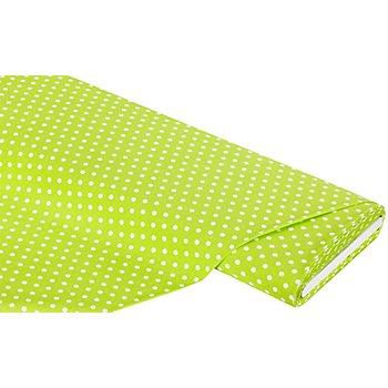 Baumwollstoff Tupfen 'Mona', hellgrün/weiß, 5 mm Ø