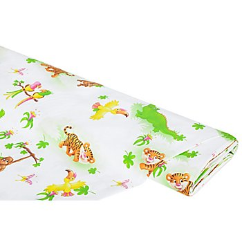 Tissu coton 'animaux de la jungle', écru/multicolore