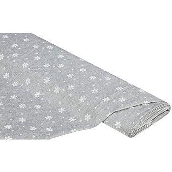 Dekostoff 'Schneekristalle', grau, 180 cm
