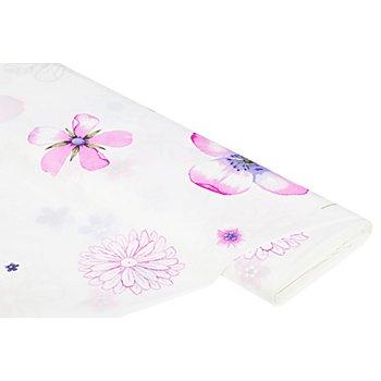 Voile 'Blumen', natur/rosa