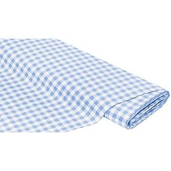 Tissu coton 'carreaux vichy', 1 x 1 cm, bleu clair/blanc